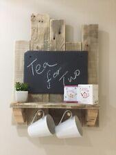 Rustic Slate Chalk Board, Shelf and Tea Cup Holder