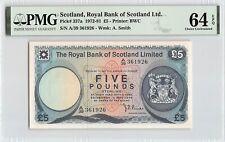 Scotland, Royal Bank 1976 P-337a PMG Choice UNC 64 EPQ 5 Pounds