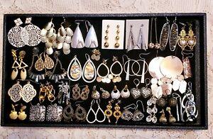 34 Piece Mixed Style/Tone Dangle Chandelier Pierced Earring Lot