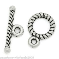 W09  50Sets Silver Tone Toggle Clasps 9x11mm