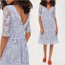 SALE Topshop Dusty Blue Vintage Style Lace V Neck Midi Dress Size 10 US 6 ❤