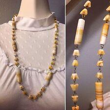 "Natural Vintage Carved Onyx Or Alabaster Stone Necklace 26"" Long"