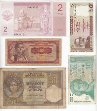 New listing 5 World Mixed Banknotes Currency Lot Yugoslavia, Croatia, Bangladesh !