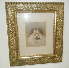 ANTIQUE HAND COLORED PRINT / ETCHING 2 VICTORIAN GIRLS KISSING GILT WOOD FRAME