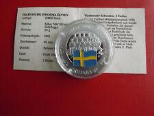 *Cook Island 1 Dollar 2001 Silber PP(500 -ca20g)*Fußball WM/Schweden (Schu50)