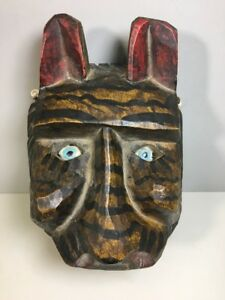 Lion Tiger Head 3-D Safari Mask African Styl Wooden Carved Art Hand Made Face