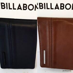 BILLABONG WALLET NEW Mens Boys DIMENSION BLACK, JAVA GRAIN Faux Leather BIFOLD
