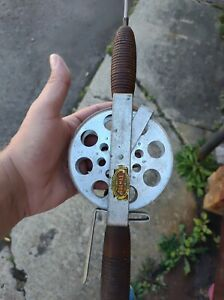 """Antique PREMAX Fishing Rod Steel Shaft Taxi Style Reel Ribbed Wood 52"""" 1943 pat."""