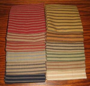 "Dunroven House 12 Primitive Homespun Ticking Fabric  10"" Square Bundle  1~ Each"