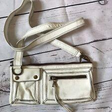Oushka, London. White Brown Real Leather Cross Body Handbag  Zips & pockets