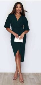 Pink Boutique BNWT Emerald Green Teal Wrap Style Midi Dress Size 10