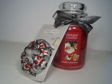 "Yankee Candle, 22 oz. Jar ""Merry Christmas"" With free Santa illuma lid"
