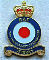 V-DAY 75th ANNIVERSARY BEAUTIFUL MILITARY ENAMEL BADGE RAF VETERAN BRITISH ARMY