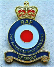 V-DAY 75th ANNIVERSARY BEAUTIFUL MILITARY ENAMEL BADGE RAF VETERAN BRITISH ARMY