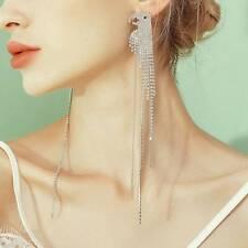Parrot Dangle Hanging Asymmetrical Rhinestone Long Tassel Earrings