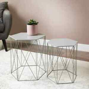 Malvern Set of 2 Hexagon Tables Stylish & Elegant Tables For Living Room - Grey