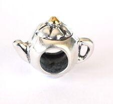 NEW 925 Sterling Silver European Bracelet Charm Bead Tea Pot 18K Gold