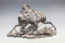 Chinese Feng Shui old  Bronze Monkey tease deer Animal Deco statue