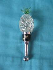 glass pineapple chrome bottle stopper, wine claret port sherry 12cm novelty gift