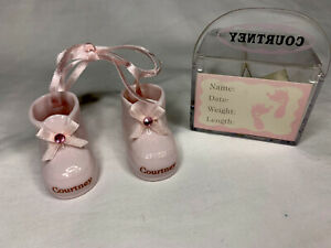 RUSS BERRIE AND CO. GENUINE PORCELAIN MINIATURE BABY GIRL SHOES W/NAME COURTNEY