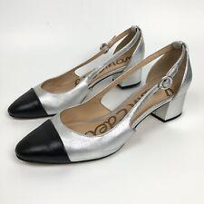 Sam Edelman 8.5 38.5 Leah Silver Block Heels Pumps Black Cap Toe Cutout Sides