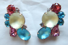 Turquoise/Pink/Yellow Statement Clip-On Earrings