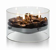 PHILIPPI DESIGN Fire edler Tischkamin Glas Edelstahl & Deko Steine 123118
