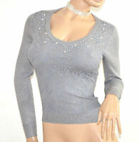 MAGLIETTA GRIGIO donna manica lunga pizzo sottogiacca maglia strass ricamo F130