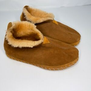 LL Bean Slippers  Brown Suede Shearling Lined Bootie Men's Size 12W