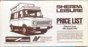 Freight Rover Sherpa Leisure Autosleepers Price List 1982