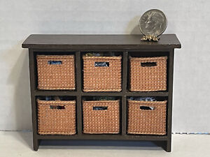 Artisan Filled Storage Cubbies Filled w/ Sewing Notions Dollhouse Miniature 1:12