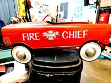 """MURRAY FIRE CHIEF PEDAL CAR 1950'S.""""REAL NICE WITH BELL""""RUNS GREAT""""NICE ONE !!!"""