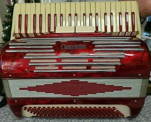 Camerano Vgt Accordion L453/89 RED w/Case and music sheets made in ITALY -1950s