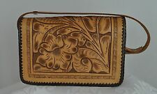 Small Mexican Brown Carved Embossed Leather Floral Purse Handbag Boho Hippy