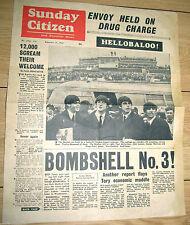 1964 BEATLES Newspaper Sunday Citizen Arrived in USA Ephemera John Lennon Retro