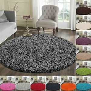 Circle Round Verona Shaggy Washable Rugs Thick Pile Floor Round Mats Area rugs