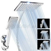 5PCS 8'' Square Rainfall Shower Head High Pressure Wall Mount Handheld Combo