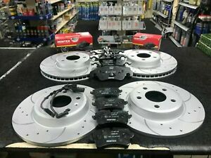 FOR AUDI A4 A5 A6 A7 Q5 QUATTRO FRONT REAR DRILLED GROOVED BRAKE DISCS AND PADS