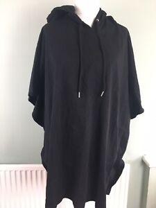 """ASOS Size 4XL Long 48-50"""" Black Sleeveless Hoodie Sweatshirt Gym Top Loungewear"""
