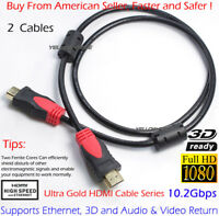Premium Gold Plated 3FT * 2 HDMI Cable Lead High Speed HDTV Ultra 3D 4K 1080P