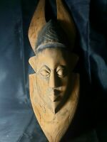 Mask African Carved Wood Tribal Wall Hand Vintage BIG!Art Wooden Face Decor 1094