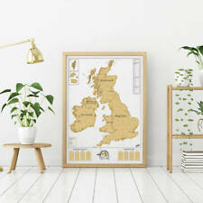 UK Ireland Wall Map Poster Scratch Off Coloured Country Travel Learning Art