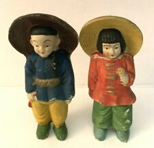 2 Vintage Bisque 5 Inch Figurines Man & Woman, Made In Occupied Japan