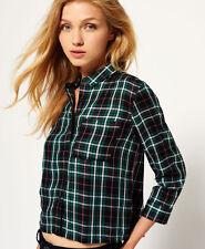 New Womens Superdry Tartan Cropped Shirt Christie Green Check