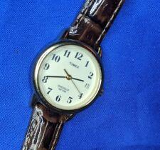 vintage Timex indiglo O9 brown leather band gold tone WATCH, fresh batt 620 A20