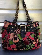 ISABELLA FIORE Floral Canvas Beaded Tote Handbag