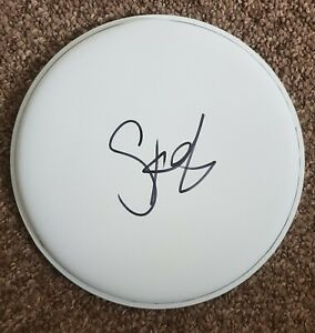 """Stewart Copeland 'The Police', hand signed in person unbranded 10"""" drum skin."""