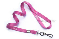 "5 PCS PINK RIBBON 3/8"" AWARENESS NECK LANYARD WITH SWIVEL HOOK BREAST CANCER"