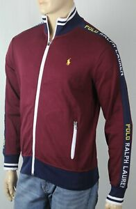 Polo Ralph Lauren Cotton Burgundy Full Zip Sweatshirt Track Jacket NWT $125