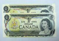 1973 Crow Bouey BCU Prefix  Bank of Canada 1$ GEM UNC Consecutive lot of 2